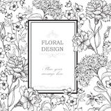Floral background. Flower bouquet border. Floral vintage cover. Stock Photography