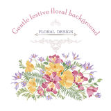 Floral background. Flower bouquet cover. Flourish pattern for gr Stock Images