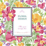 Floral background. Flower bouquet cover. Flourish pattern for gr Royalty Free Stock Photography