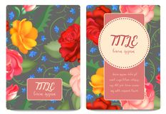 Floral background. Flower bouquet vintage cover. Flourish card with copy space. Vector illustration royalty free illustration