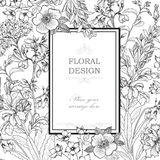 Floral background. Flower bouquet vintage cover. Flourish card Royalty Free Stock Photography