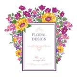 Floral background. Flower bouquet vintage cover. Flourish card w Stock Image