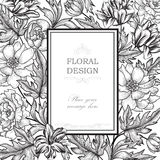 Floral background. Flower bouquet vintage cover. Flourish greeting card Stock Images