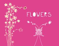 Floral Background with Flower Ornaments and Butterfly. Vector Spring Flowers Design Illustration. On Pink Backdrop royalty free illustration
