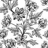 Floral background. Flower pattern. Flourish seamless texture. Floral etching seamless pattern. Flower tylip engraving background. Floral seamless texture with stock illustration