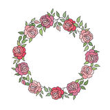 Floral background with flower roses wreath. Floral bouquet frame Royalty Free Stock Photos