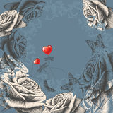 Floral background with flowering roses, flying but Royalty Free Stock Images