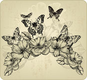 Floral background with flowers and flying butterfl Royalty Free Stock Photos