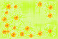 Floral background. Flowers on a background of green lattice Stock Image