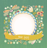 Floral background with flowers insects and frame Stock Images