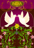 Floral background with flying Dove showing Incredible India. In vector Royalty Free Stock Photos