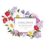 Floral background with frame  Floral bouquet Greeting card Royalty Free Stock Photos
