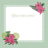 Floral background,frame with lilies. Stock Photos