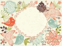 Floral background with frame in vector Royalty Free Stock Photos