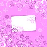 Floral background with a framework. White framework on a lilac flower background Royalty Free Stock Image