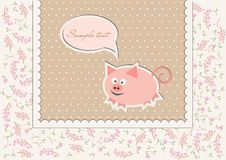 Floral background with funny pig Royalty Free Stock Images