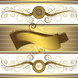 Floral  background with golden frame (vector) Royalty Free Stock Images