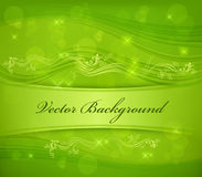 Floral background in green & text Stock Image