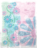 Floral Background Grunge. An illustration of stylized flowers and spirals on a blue-green and pink grunge background Stock Photography