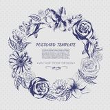 Floral background with hand drawn flowers. Royalty Free Stock Photos