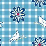 Floral background with hand drawn folk flowers and pigeon birds. Seamless Easter vector pattern for cushion, pillow, bandanna, sil Stock Image