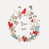 Floral background. With handdrawn flowers, birds and hearts Stock Images