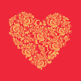 Floral background in heart shape decorative  ornaments Royalty Free Stock Image