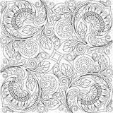Floral background with hearts. Floral decorative pattern. Adult antistress coloring page Royalty Free Stock Photos