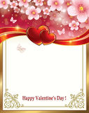 Floral background with hearts on Valentine's Day. Floral background with hearts and butterflies on Valentine's Day Royalty Free Stock Photo