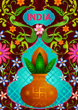 Floral background with holy kalash showing Incredible India. In vector Royalty Free Stock Image