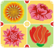Floral background, icon set, vector. Abstract floral background, icon set, vector illustration Royalty Free Stock Photography
