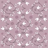 Floral Background Illustration. Lavender background illustration with flowers and vines Vector Illustration