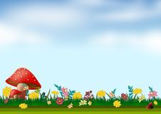 Floral background in blue sky illustrations. Floral background illustrations colorful full colors Stock Photo