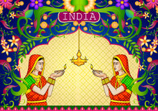 Floral background with Indian lady  diwali diya showing Incredible India. Floral background with Indian lady with diwali diya showing Incredible India in vector Royalty Free Stock Photo