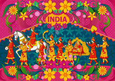 Floral background with Indian wedding baraat showing Incredible India. In vector Stock Images