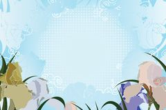 Floral background with irises and halftone Royalty Free Stock Image