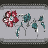 Floral background, lace border Stock Image
