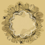Floral background with lace and hearts. Vector. Royalty Free Stock Image