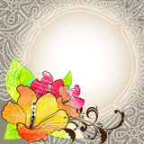 Floral background with lace Royalty Free Stock Photos