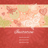 Floral background with lacy heart and butterflies. Stock Images