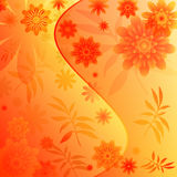Floral background with leaves. Floral background with flowers carved leaves (vector royalty free illustration