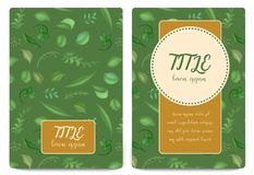 Floral background. Leaves vintage cover. Flourish card with copy space. Vector illustration royalty free illustration
