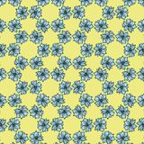 Floral background with light blue flowers of lily on yellow background stock illustration