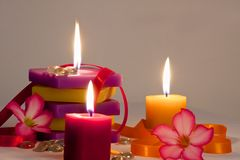 Floral Background with lighted candles Royalty Free Stock Photo