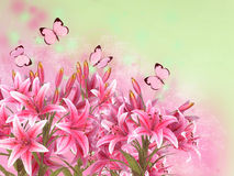 Floral background with lilies and butterflies. Magical illustration of fairy tale flowers stock illustration