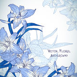 Floral background with lilies in vintage style Royalty Free Stock Images