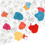 Floral background line art rose bright colors. Illustration Royalty Free Stock Photo