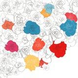 Floral background line art rose bright colors. Illustration royalty free illustration