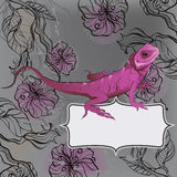 Floral background with lizard Stock Images
