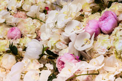 Floral background. Lot of artificial flowers in colorful Royalty Free Stock Photo
